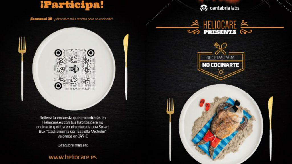 """Cartel de la campaña """"Recetas para no cocinarte"""", de Heliocare."""
