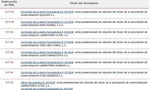 Imagen de la web de la Aemps con las correcciones de la alerta de valsartán