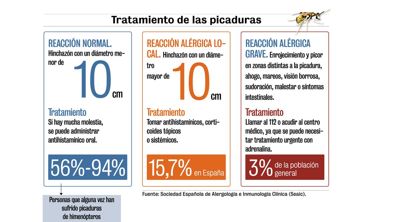 Tratamiento más adecuado en función de la reacción que haya causado la picadura de avispa o abeja.