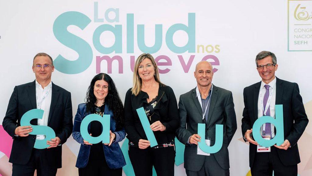 Javier G. Pellicer (tesorero de la SEFH), Patricia Lacruz, Patricia Gómez, Ventayol y Calleja, tras inaugurar el 63 Congreso de la SEFH.