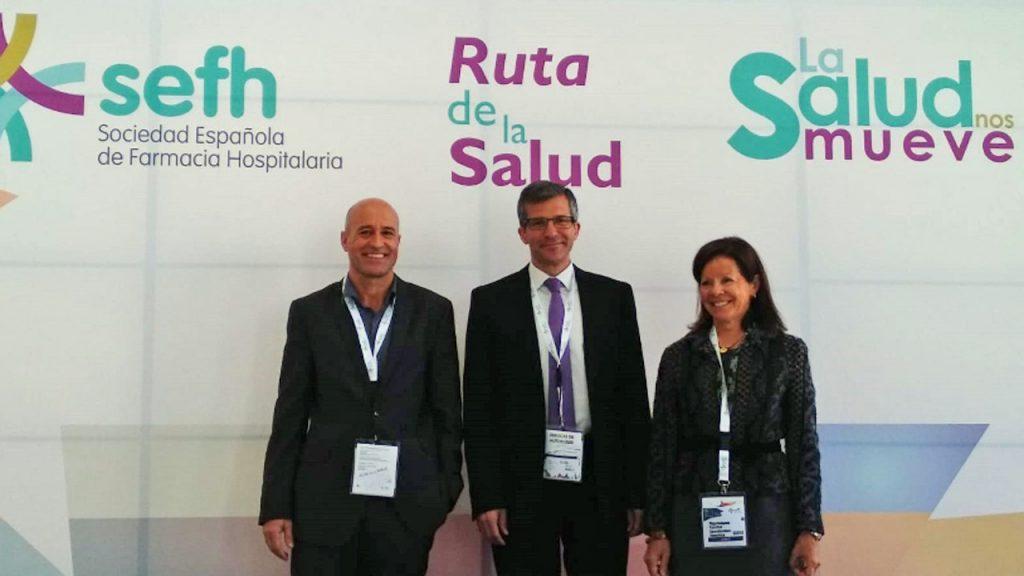 Pere Ventayol, Miguel Ángel Calleja y Olga Delgado, de la SEFH, en la presentación de su 63 congreso nacional.