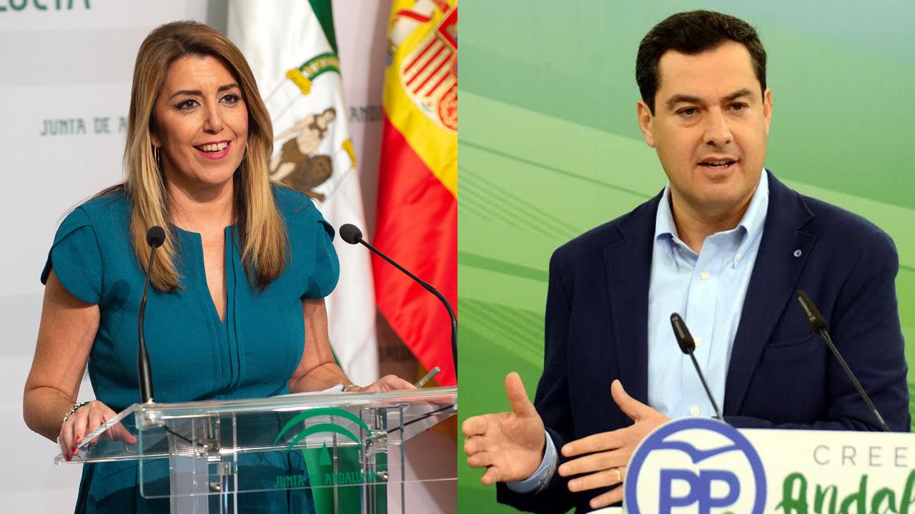 Susana Diaz, presidenta en funciones, y Juan Manuel Moreno, candidato del PP a la Presidencia.