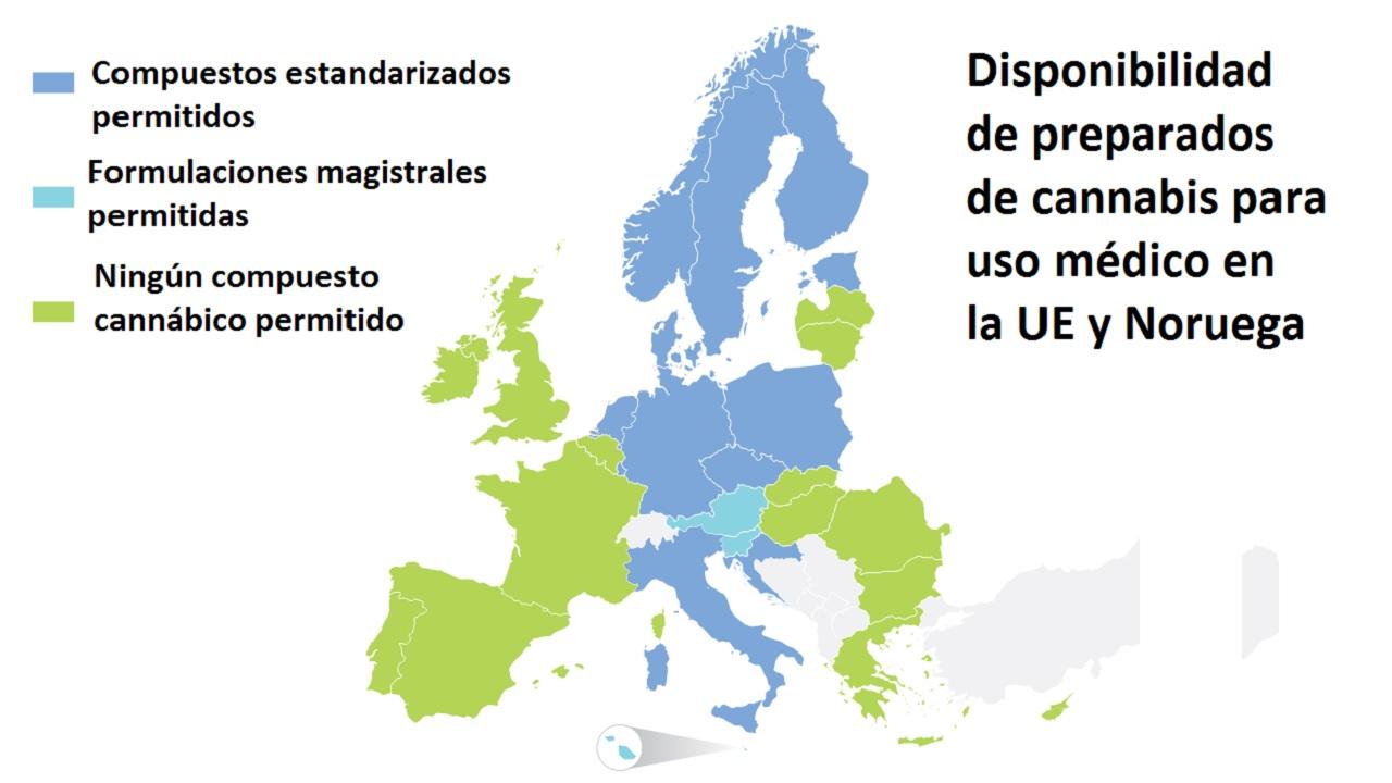 Usos permitidos de cannabis terapéutico en Europa.