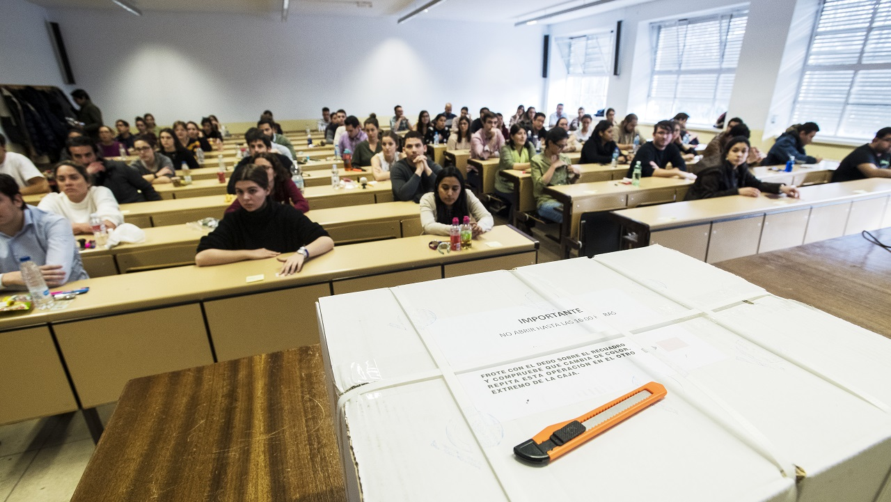 Imagen de una de las aulas en las que se ha celebrado un examen de formación sanitaria especializada de la convocatoria 2018/2019.