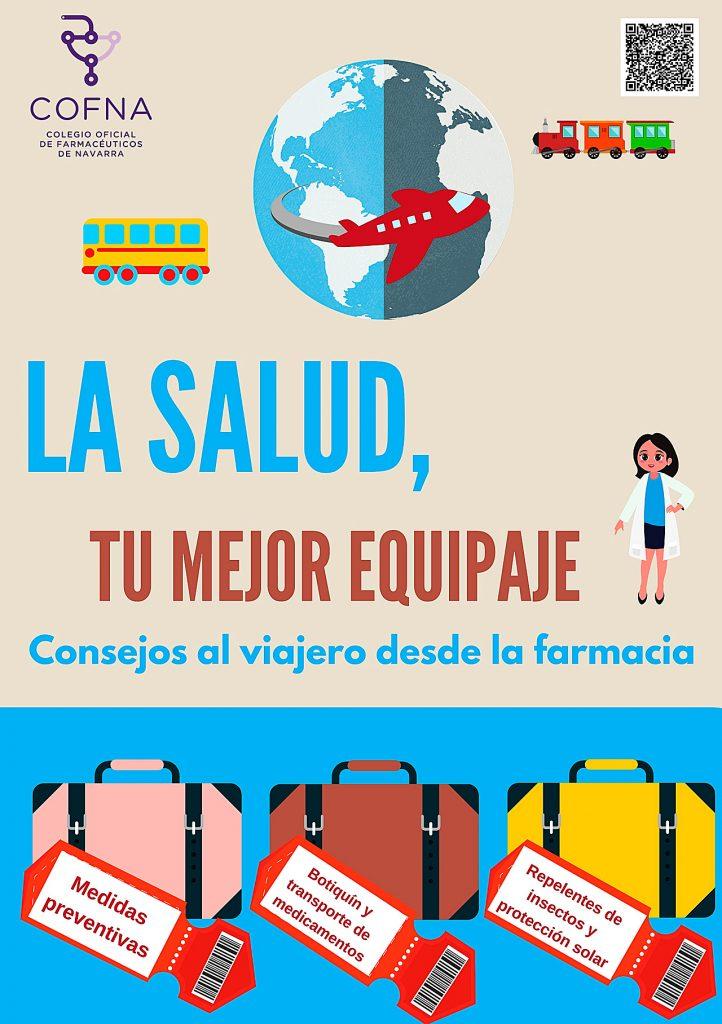 Cartel de la campaña del COF de Navarra sobre salud y viajes internacionales.