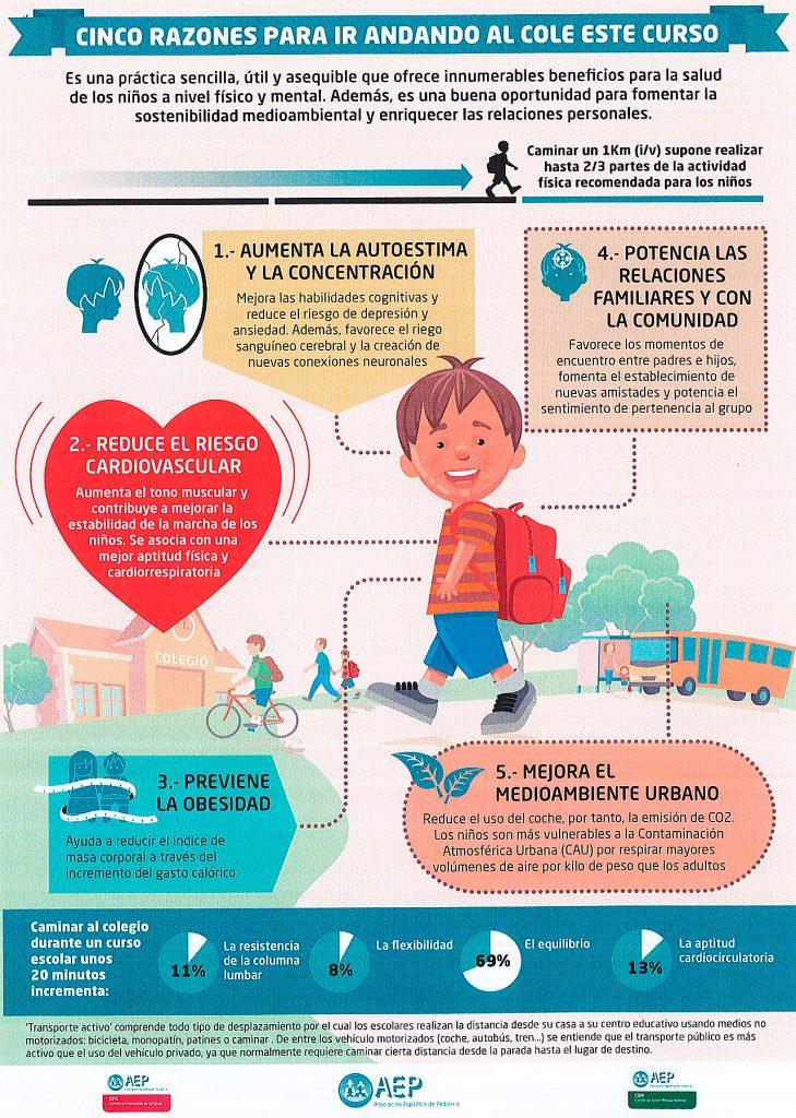 Folleto editado por la AEP sobre los beneficios de ir caminando al colegio.