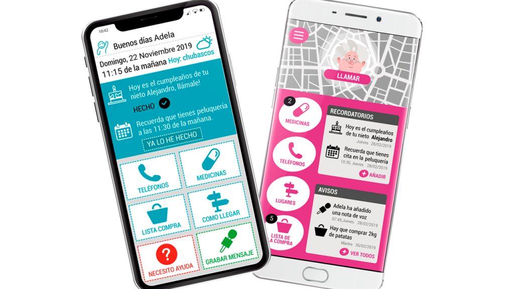 Sobre estas líneas, MiMe, el dispositivo móvil desarrollado para el paciente con Alzheimer, en el que el sistema propio de los smartphone es sustituido por otro sencillo y más comprensible. En la imagen de la derecha abajo, SuMe, la app que se instala el cuidador, gracias a la cual puede saber en tiempo real dónde está su familiar y si necesita ayuda.