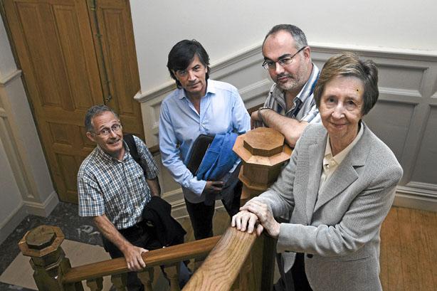 Ángel Carracedo, Carlos López Otín, Arcadi Navarro y Margarita Salas, en el Palacio de la Magdalena, en Santander.