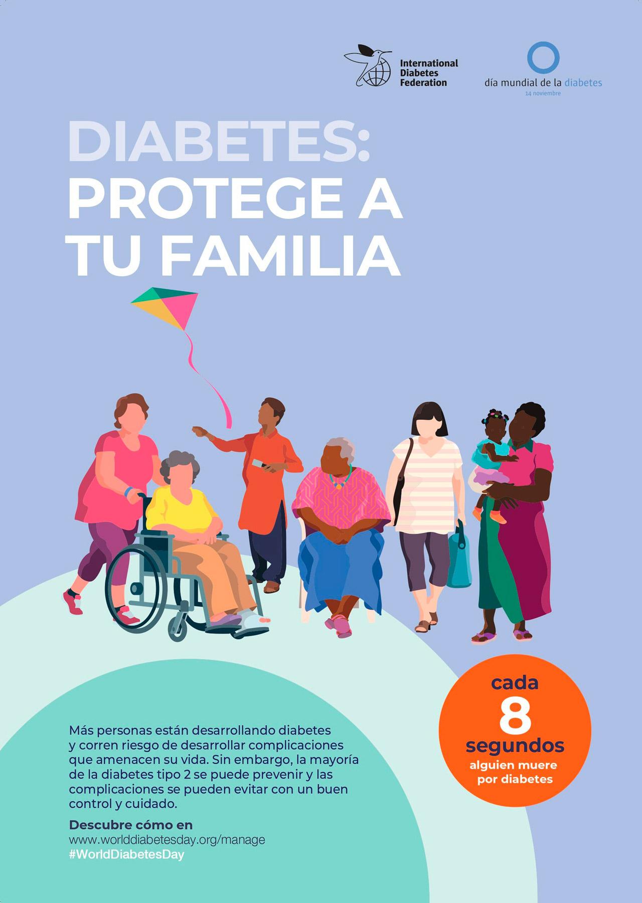 Uno de los pósteres elaborados con motivo de la campaña internacional 'Diabetes: protege a tu familia'.